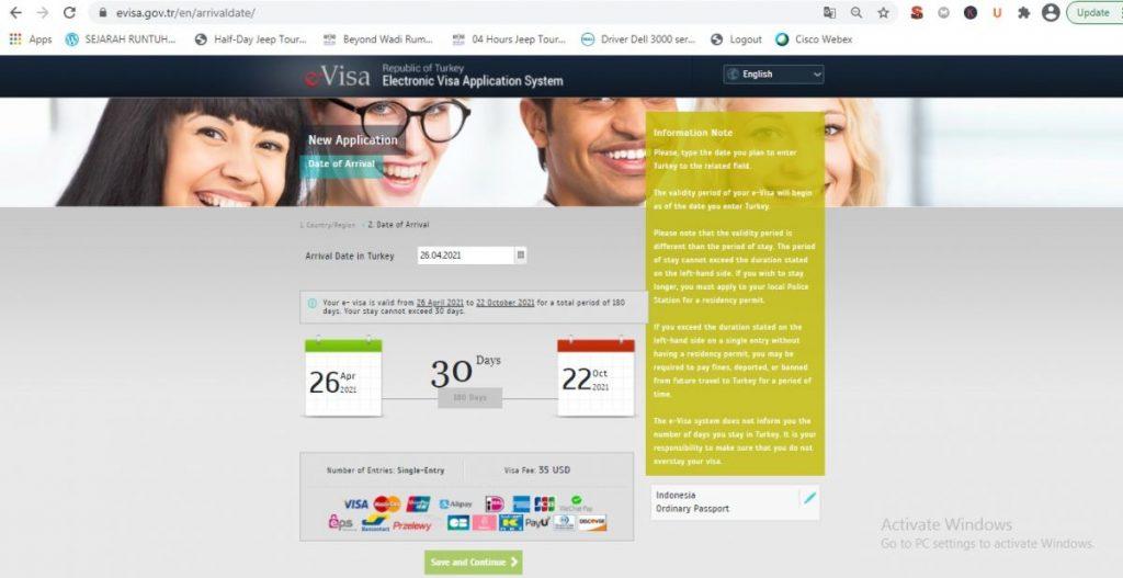Mengisi visa Turki online
